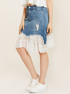 Hole Denim Lace Patchwork Mermaid Skirt
