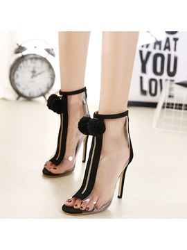 Zipper Transparent Appliques Womens Heel Sandals