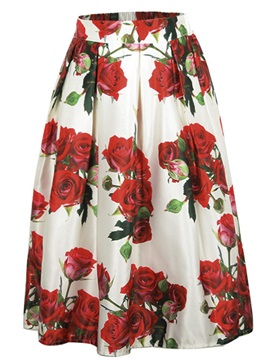 Mid Waist Print A Line Pleated Skirt