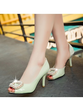 Pu Rhinestone Slip On Peep Toe Stilettos