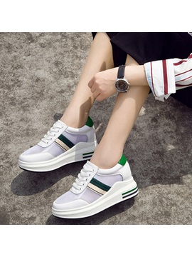 Mesh Lace Up Platform Sneakers For Women