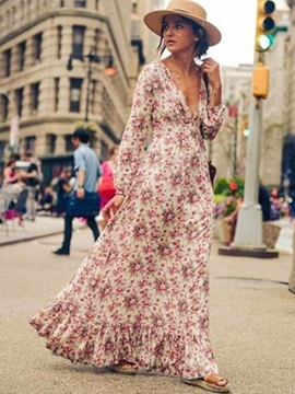 Long Sleeves Deep V Maxi Dress