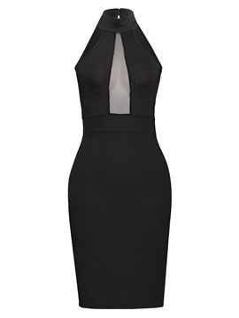 Sexy Black Sleeveless Slim Bodycon Dress