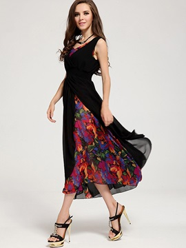 Sleeveless Round Neck Chiffon Maxi Dress