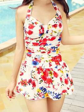 Floral Pleated Monokinis One Piece Swimsuit
