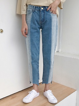 High Waist Color Block Straight Jeans