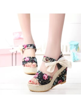 Floral Lace Up Floral Womens Wedge Sandals