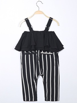 Fashion Stripe Suspenders Pleated Girls Jumpsuit