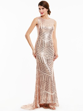 Gorgeous Scoop Neck Backless Sequins Mermaid Evening Dress