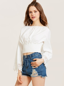 Slash Neck Flare Sleeve Blouse