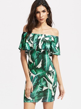 Floral Imprint Boat Neck Bodycon Dress