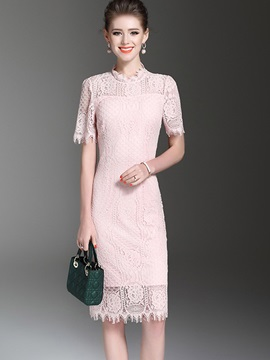 Chic Solid Color Short Sleeve Lace Dress