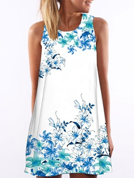 Print Short A Line Day Dress
