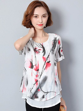 Loose Round Neck Print Double Layer T Shirt