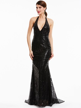 Gorgeous Halter Neck Backless Sequins Mermaid Evening Dress