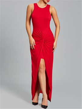 Vogue Pure Color Pleated Sleeveless Womens Bodycon Dress