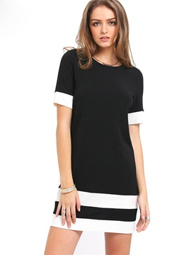 Scoop Short Sleeves Womens Day Dress