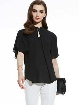 Stand Collar Plain Chiffon T Shirt