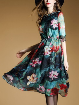 Half Sleeve Floral Imprint Chiffon Skater Dress