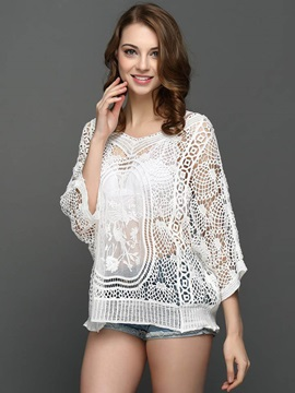 Lace Crochet Batwing Sleeve Blouse