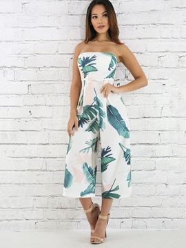 Slim Print Backless Wide Legs Jumpsuits