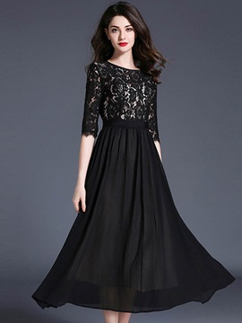 Black Lace Split Joint Maxi Dress