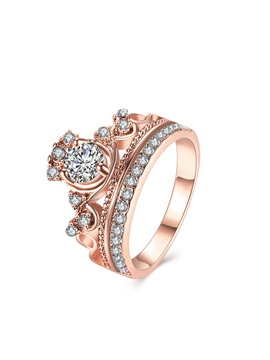Rhinestone Crown Design Rose Gold Ring