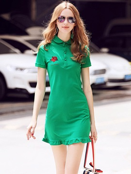 Green Short Sleeve Short Day Dress