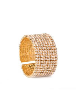 Full Drill Champagne Alloy Wide Simple Opened Bracelets Bangles