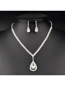Water Drops Full Drill Dazzling Twisted Singapore Chain Wedding Jewelry Sets