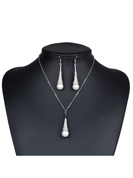 Water Drop Pearl Diamante Tassel Wedding Jewelry Sets