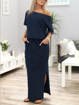 Boat Neckline Short Sleeves Maxi Dress
