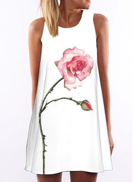 Rose Print Sleeveless Womens Dress