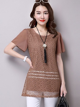 Loose Round Neck Lace Chiffon Blouse