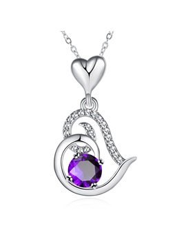 Heart Shaped Pendant Purple Crystal Inlaid Necklace