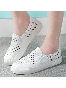 Pu Slip On Hollow Womens Casual Shoes