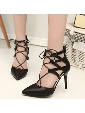 Pu Zipper Cross Strap Stiletto Shoes