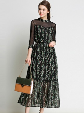 Classy Floral Imprint Long Sleeve Maxi Dress