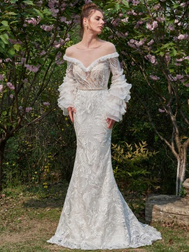 Illusion Neck Tiered Long Sleeves Lace Wedding Dress