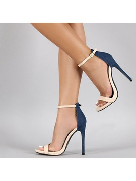 Pu Color Block Open Toe Heel Covering Sandals