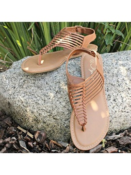 Thong Buckle Sewing Flat Sandals