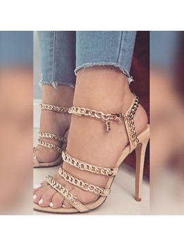 Chain Buckle Stiletto Heel Sandals