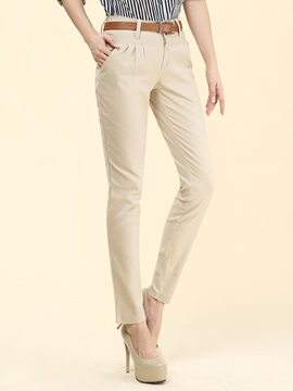 Plain Slim Pleated Casual Pants