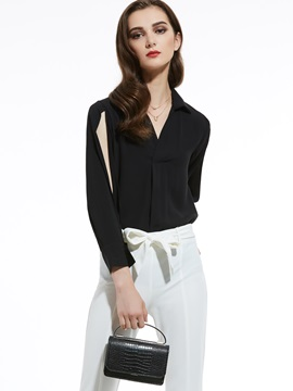 Plain Lapel Slit Blouse