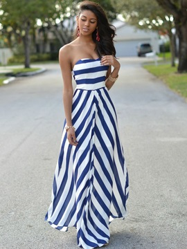 Stripe Strapless Womens Maxi Dress