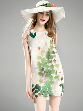 Sleeveless Floral Imprint Short Day Dress