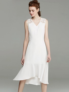 Elegant V Neck Long Day Dress