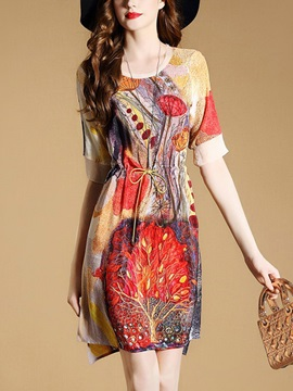 Chic Short Sleeve Floral Imprint Short Day Dress