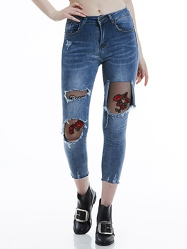 Slim Floral Embroidery Ripped Worn Womens Jeans