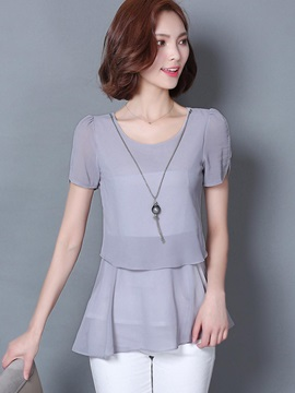 Plain Round Neck Chiffon Blouse